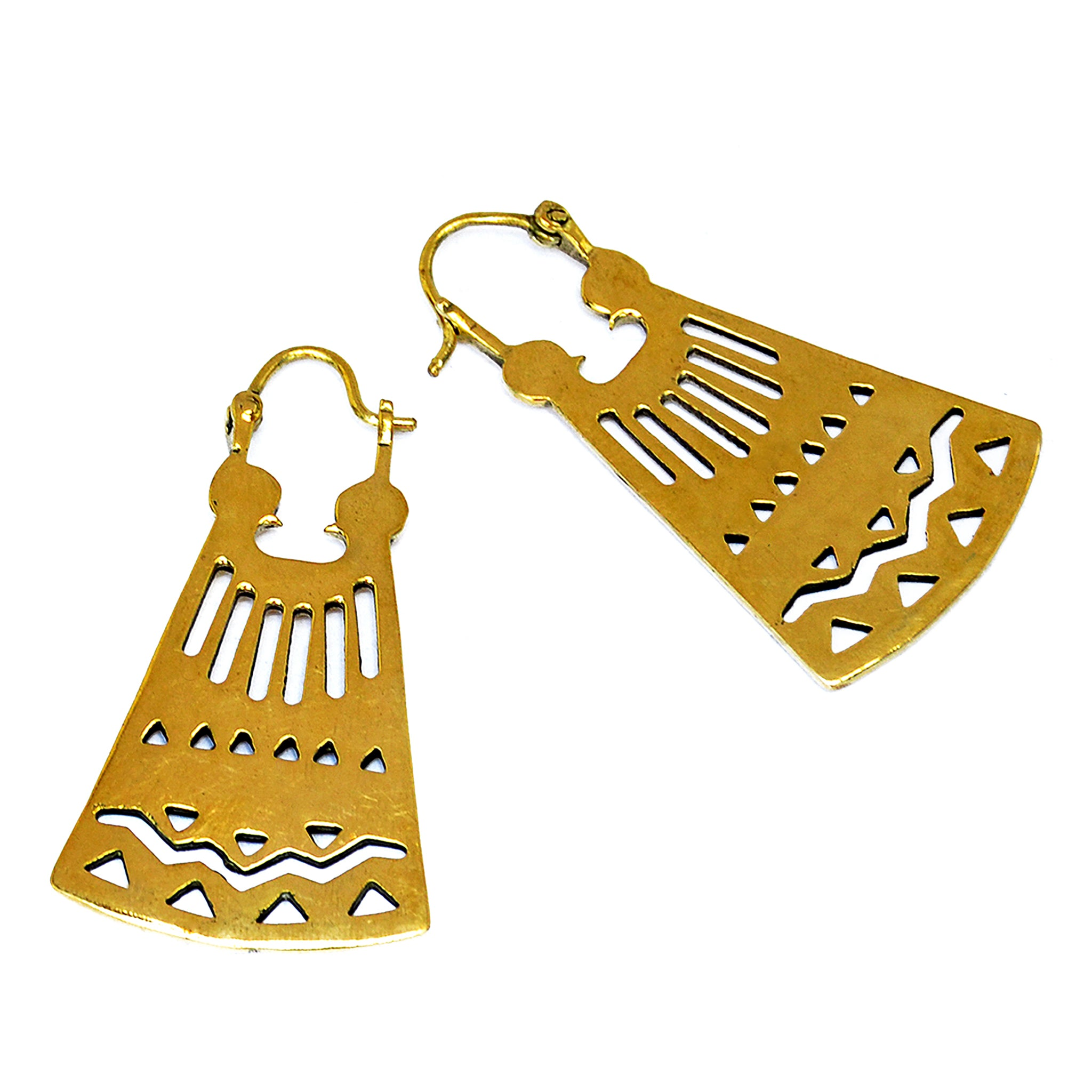 Aztec geometric brass earrings