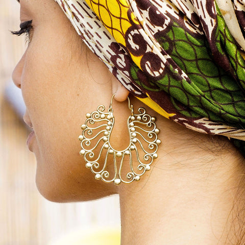 Brass large tribal earrings
