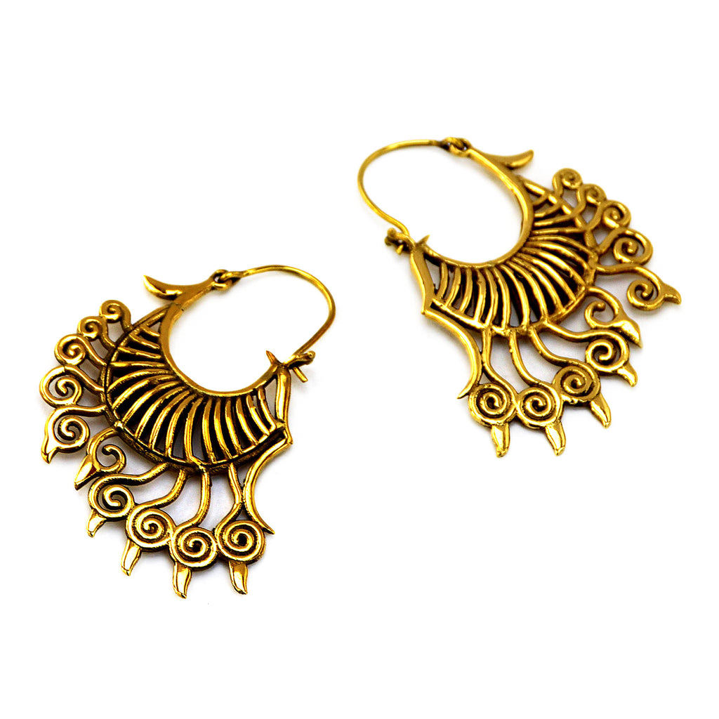 Tribal brass dangle earrings
