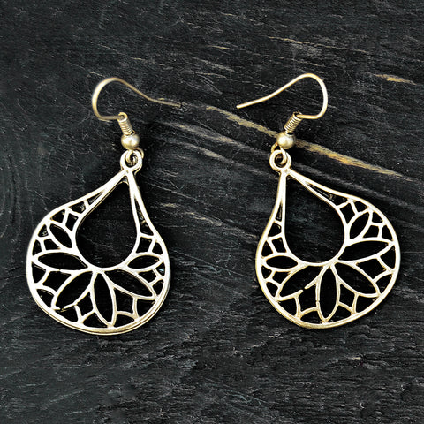Silver tribal drop earrings