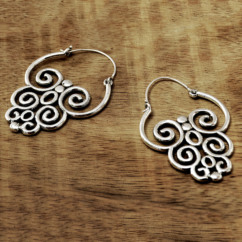 Large silver tribal earrings