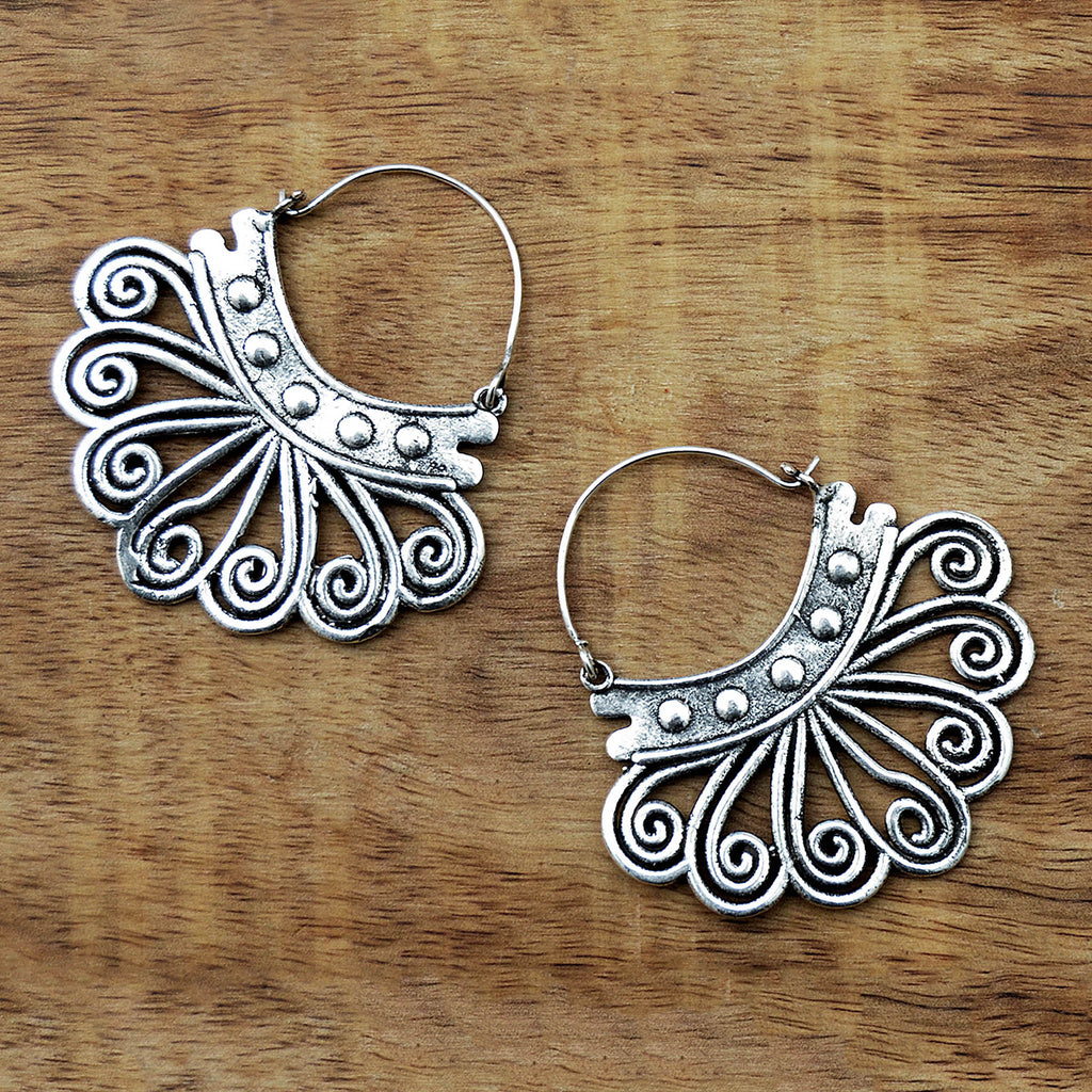 Bohemian hoop earrings silver