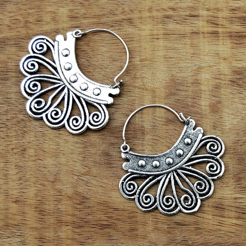 Small silver tribal earrings