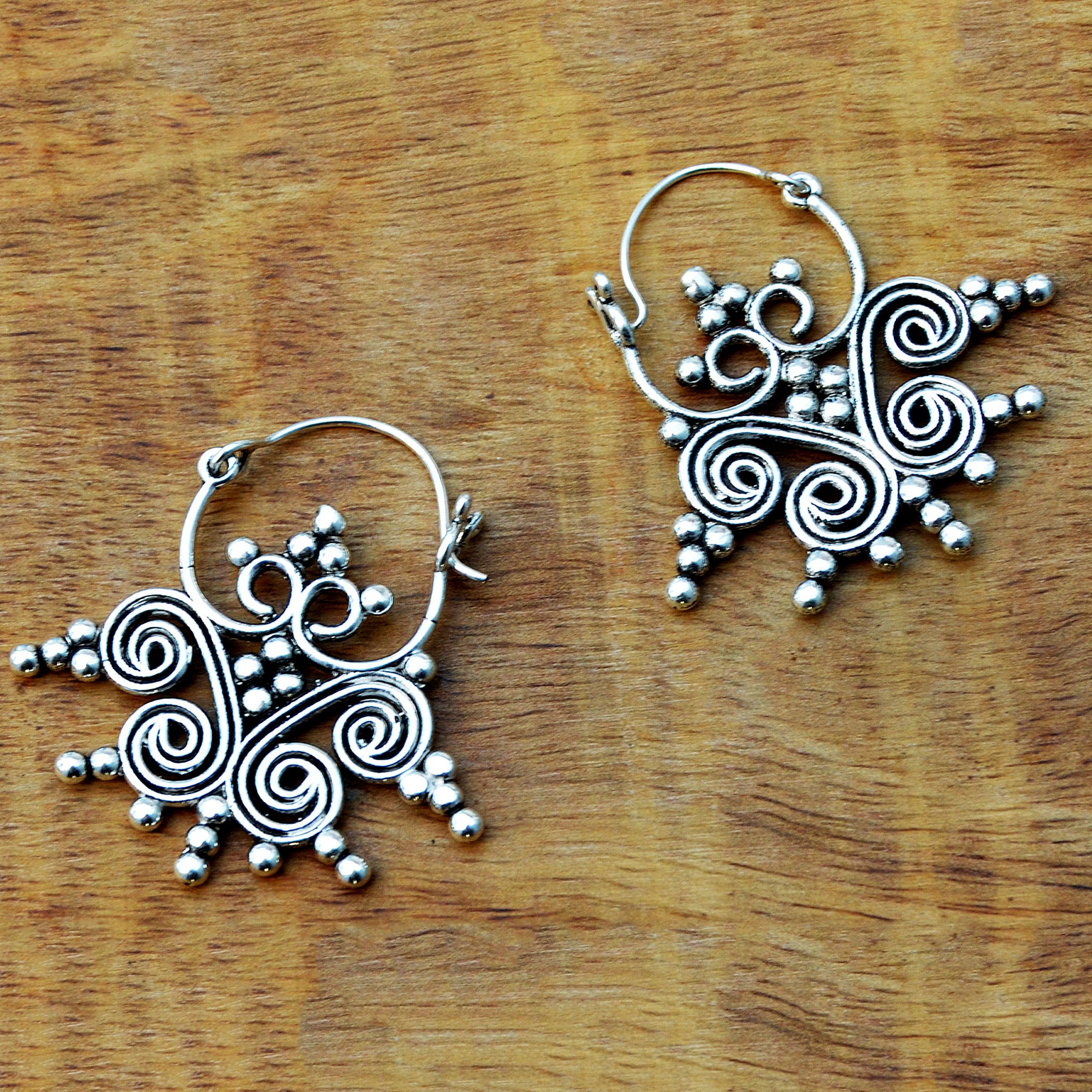 Silver indian tribal earrings