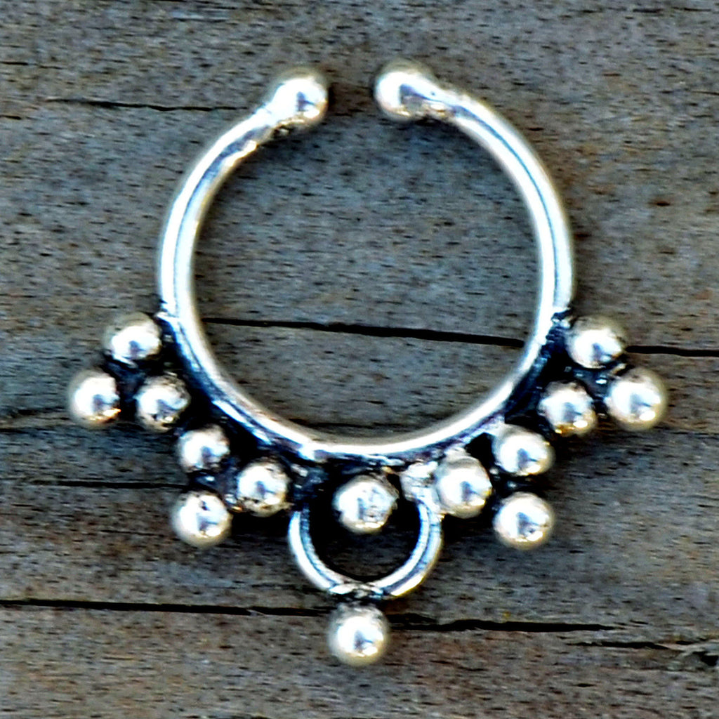 Small silver fake septum ring