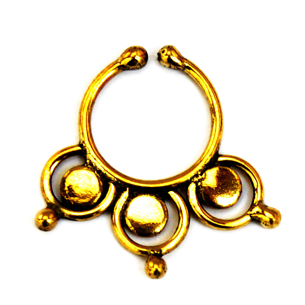 Brass tribal faux septum ring