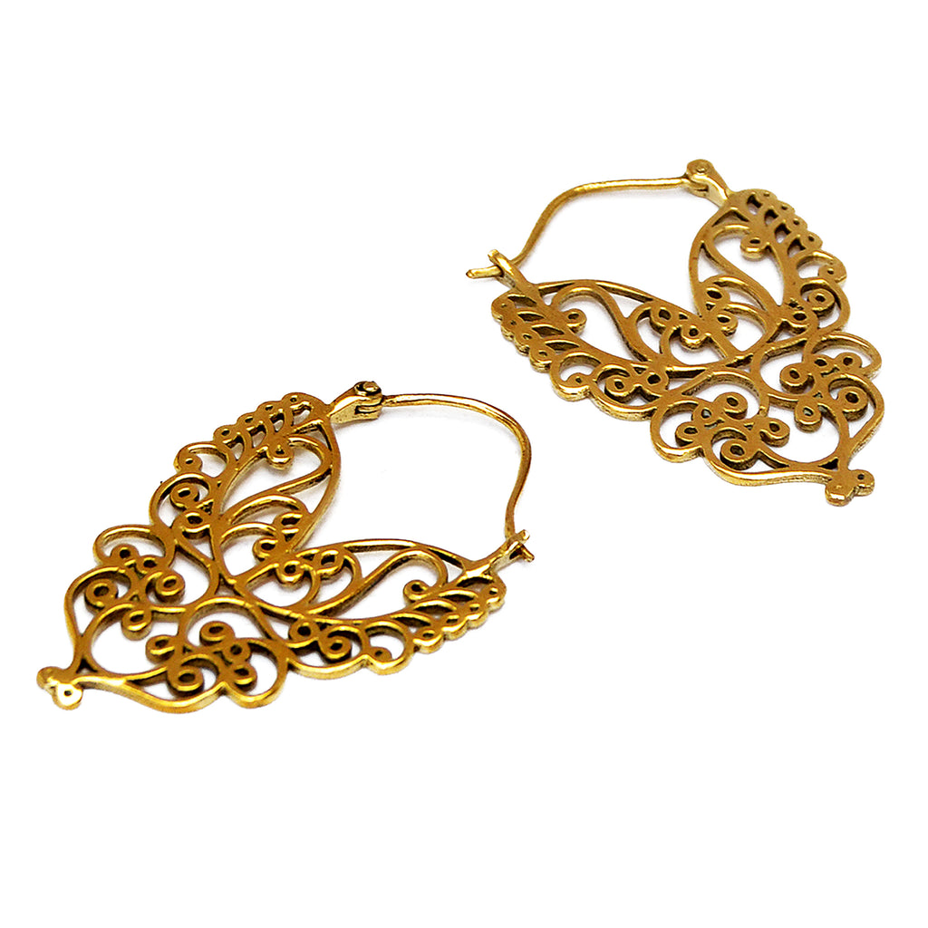 Brass tribal filigree earrings