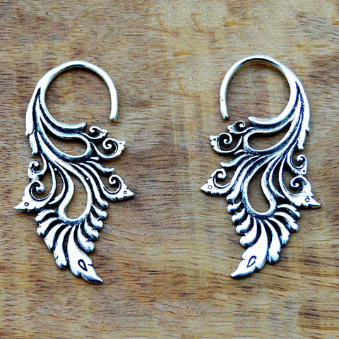 Ethnic silver hook earrings