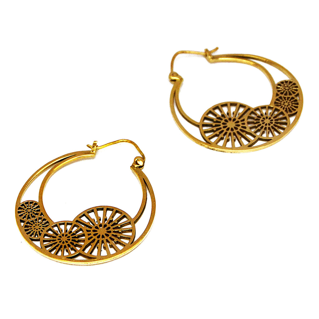 Tribal brass hoop earrings