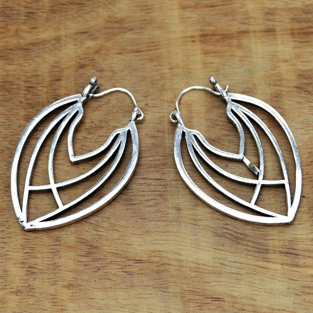Silver geometric leaf earrings