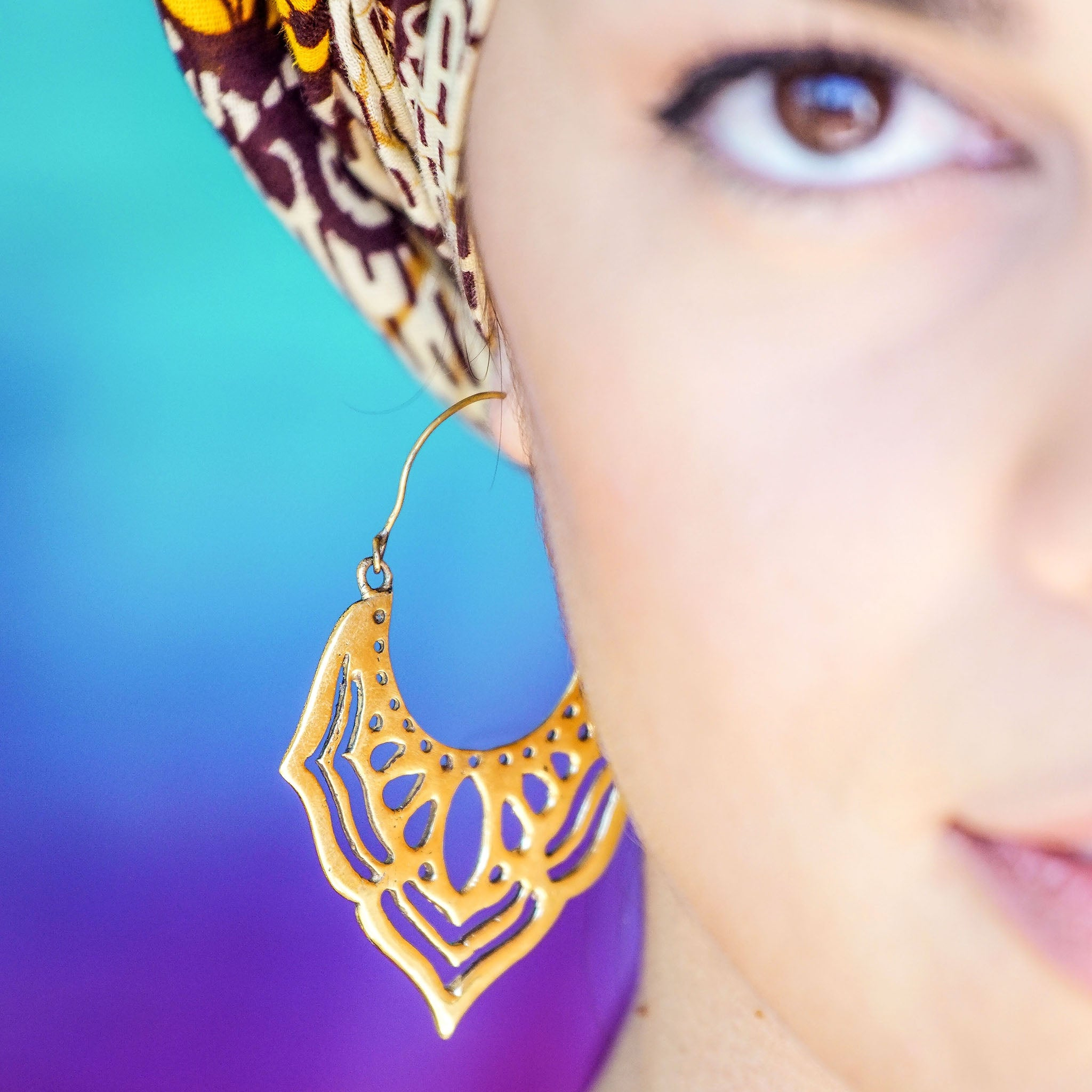 Large tribal brass lotus earrings