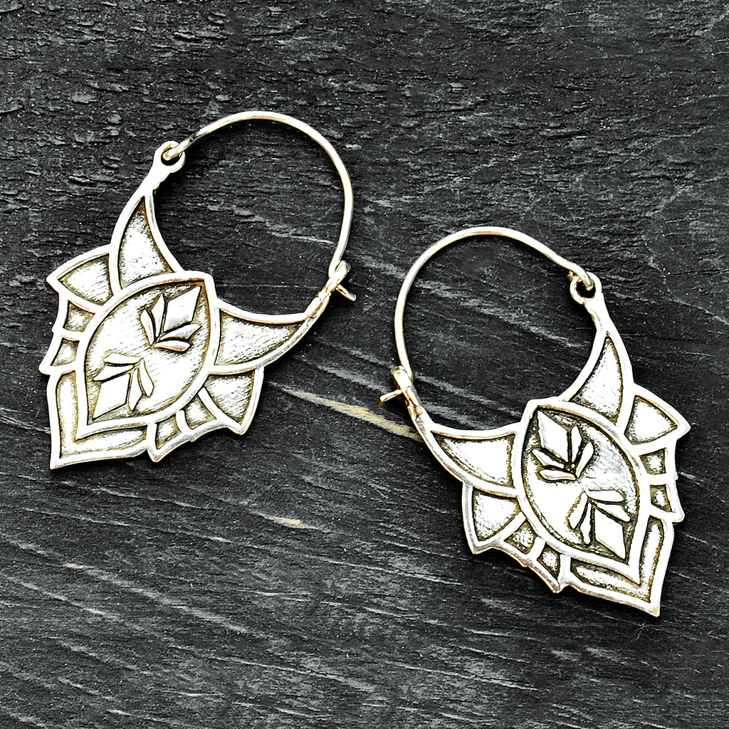 Silver tribal lotus earrings
