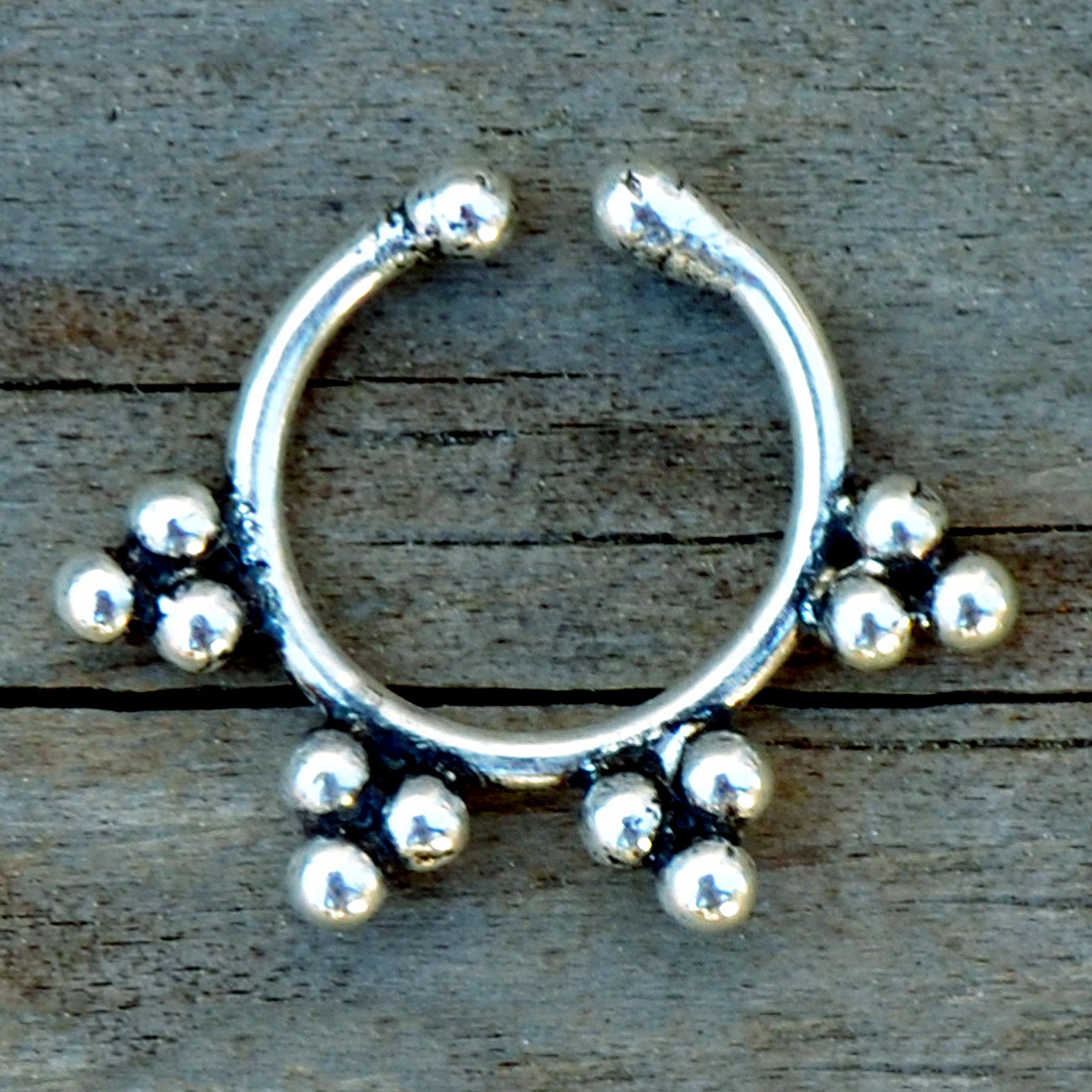 Fake silver tribal septum ring