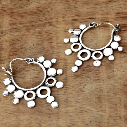 Silver rajasthani hoop earrings