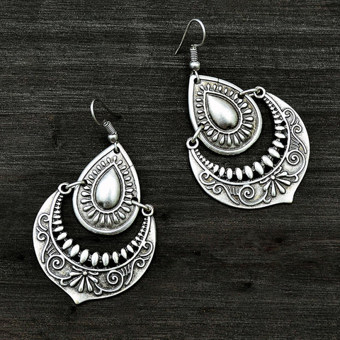 Silver turkish drop earrings