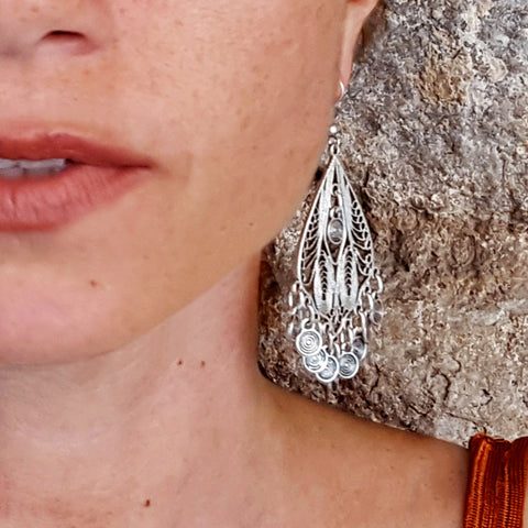 Silver turkish chandelier drop earrings