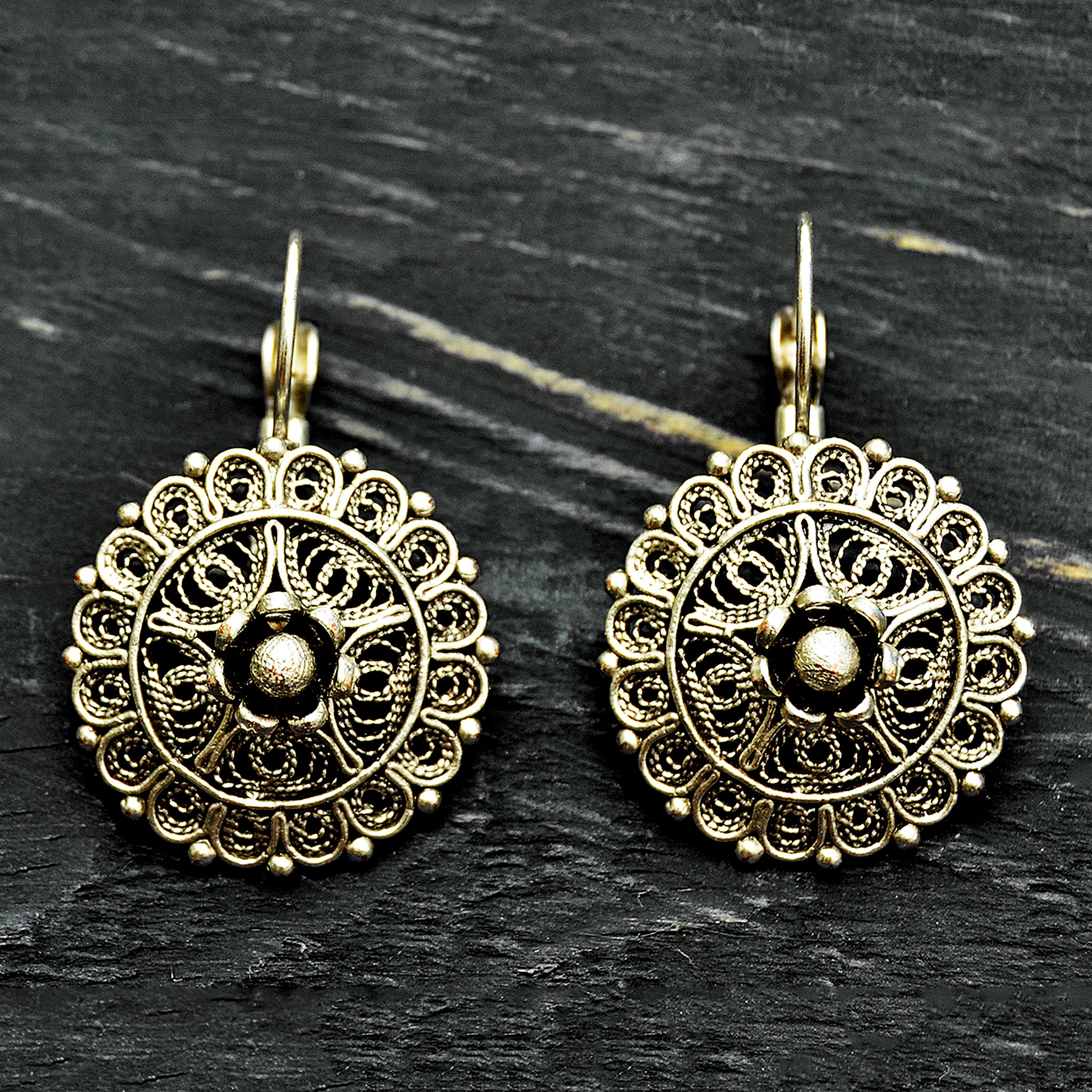Ottoman silver filifree mandala earrings