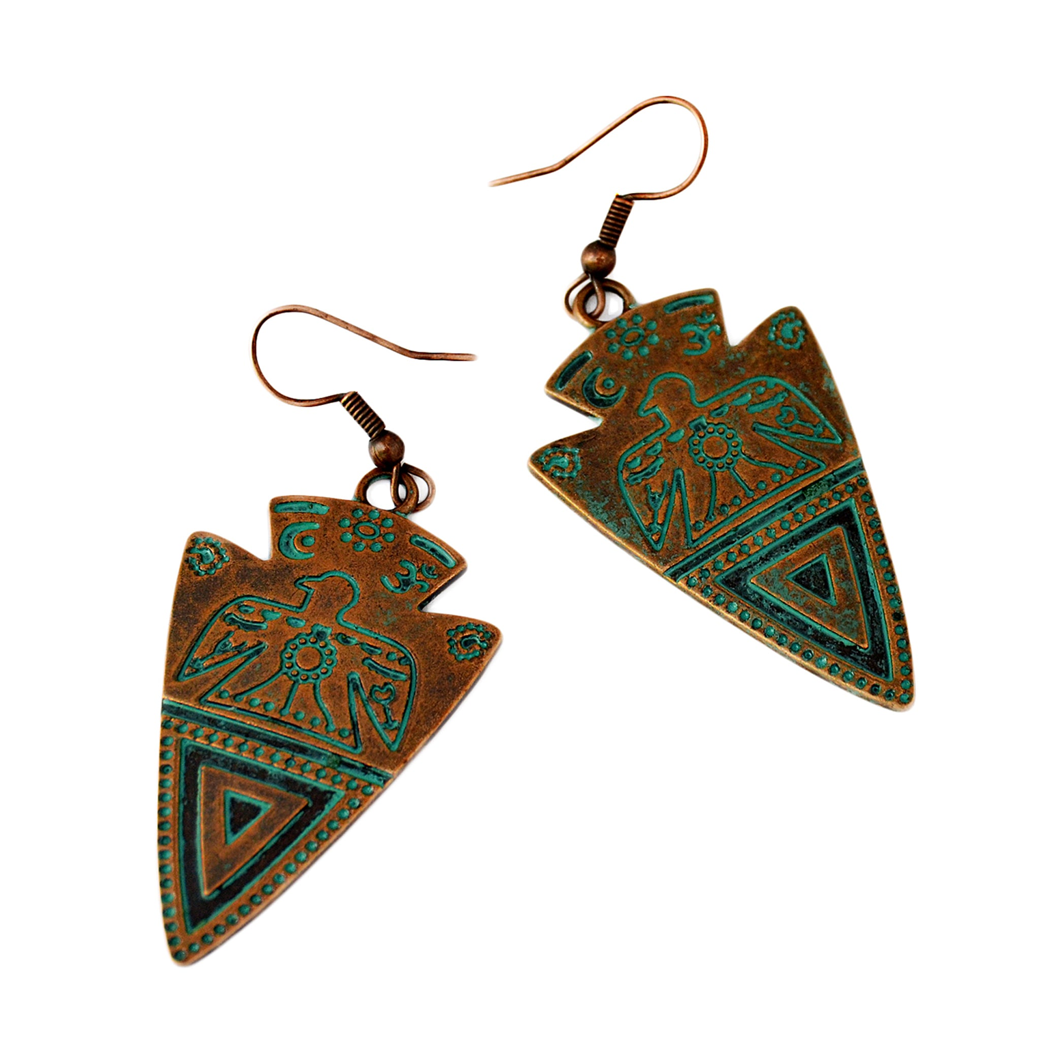 Verdigris aztec earrings