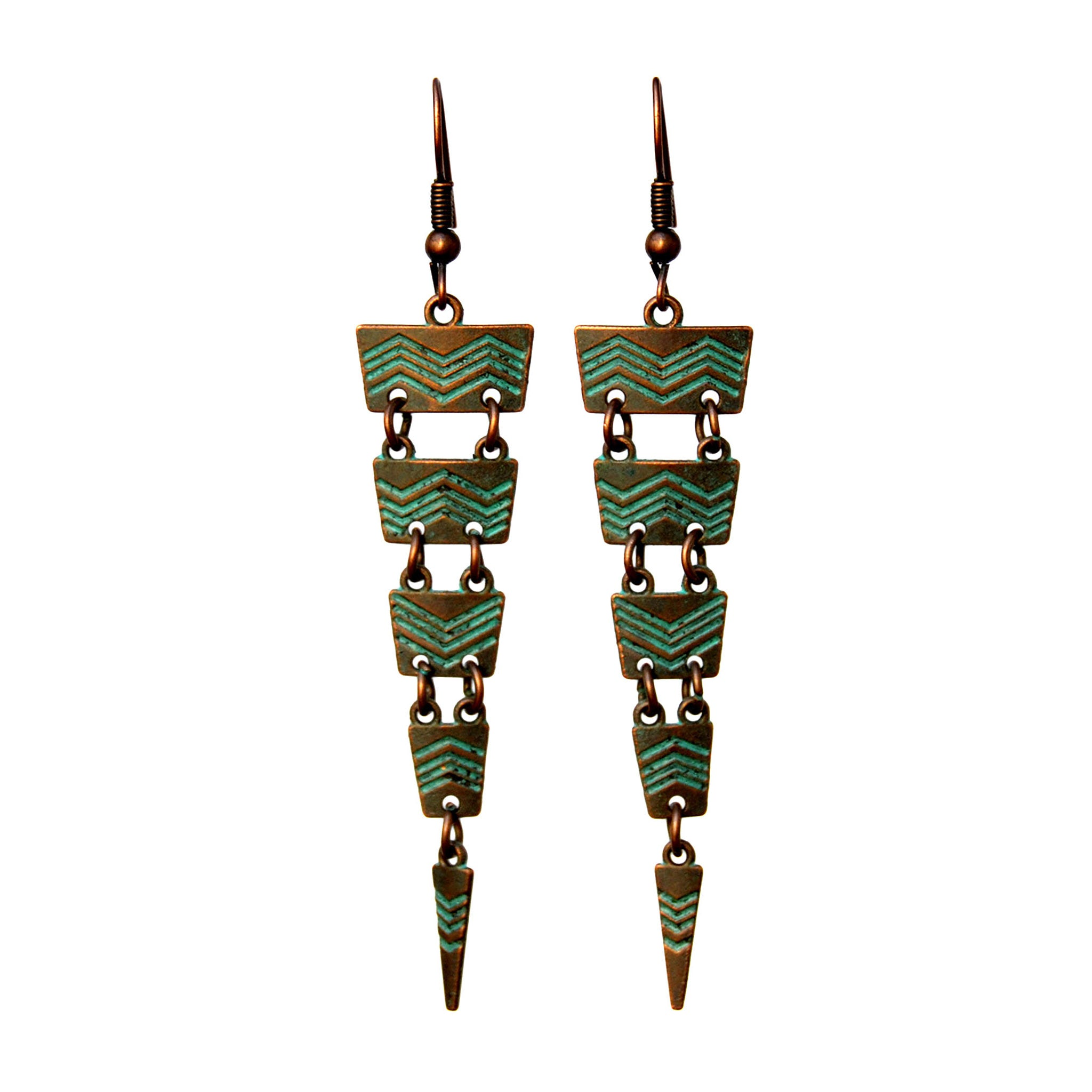 Verdigris cascade earrings