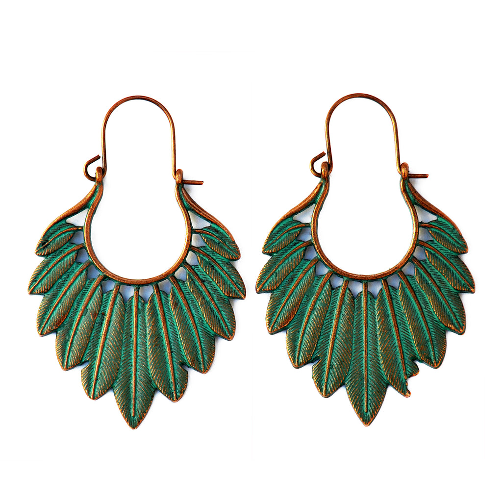 Verdigris feather earrings