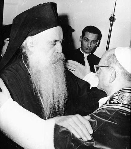 The first meeting between Pope and Ecumenical Patriarch: Paul VI and Athenagoras I