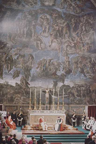 Archbishop Michael Ramsey of Canterbury and Pope Paul VI at the Vatican presiding together over a prayer service in the Sistine Chapel. They are seated side by side in front of the altar, with Michelangelo's 'Last Judgement' towering over them.