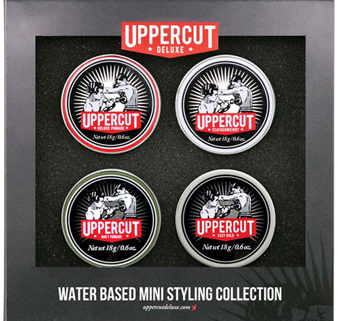 Uppercut 4 Tin Men's Hairstyling Pomade Gift Set- Travel Sized Set of Easy Hold, Featherweight, Deluxe and Matt Pomades - Water Based/Soluble