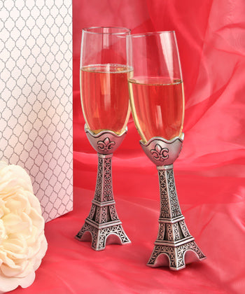 Paris Eiffel Tower Design Champagne Flutes