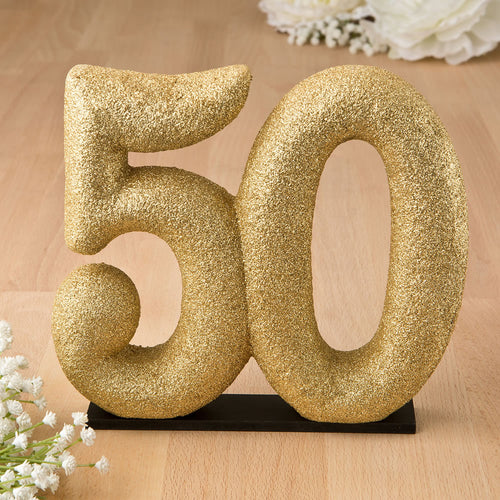 50th Themed Gold Glitter Center Piece, Cake Topper