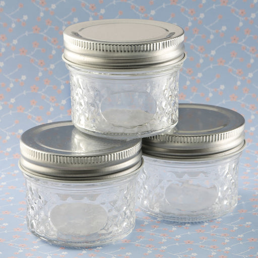 Perfectly Plain Collection crystal mason jelly jar with quilted embossed design