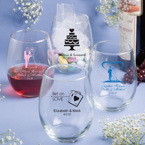 Personalised Stem less Wine Glasses 15 Oz. Min 25 Pieces.