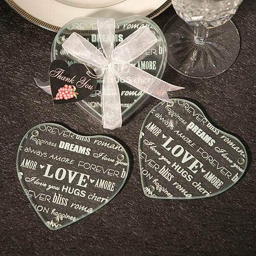Heart Love Design Glass Coaster favors Set of 2