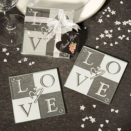 Love Glass Coasters Set of