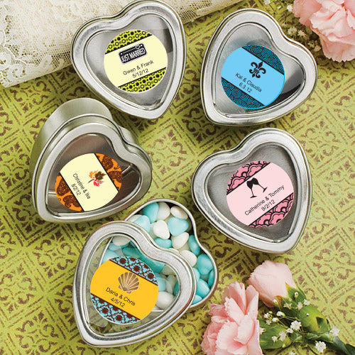 Personalised Expressions Collection Silver Heart Shaped Mint Tins x 25