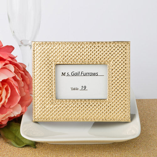 Gold Metallic Photo Frame Or Place Card Holder With Textured Leatherette Diamond Finish
