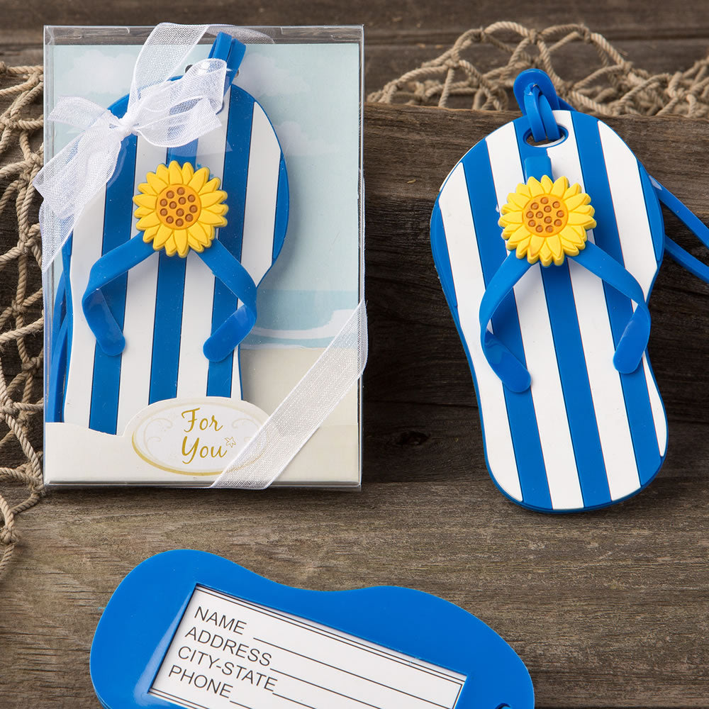 Beach Themed Flip Flop Luggage Tags With A Blue And White Striped Design