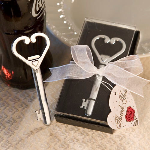 Heart Accented Key Bottle Opener favours