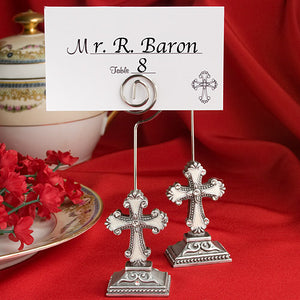 Elegant Cross Design Place Card Photo Holders