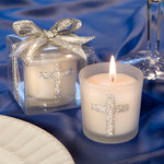 Silver Cross Themed Candle Favors