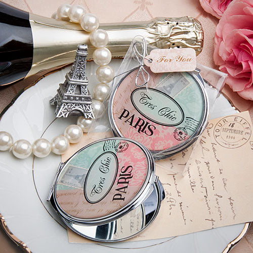 Pretty Paris-themed mirror compact  favour