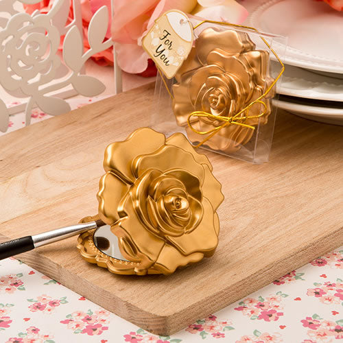 Ornate Matte Gold Rose Design Compact Mirror.