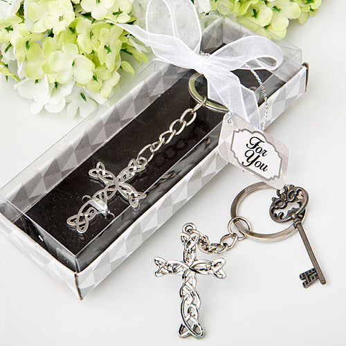 Delicate intertwined Metal Cross Key Chain