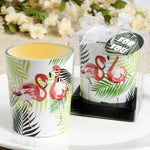 Tropical themed flamingo design glass votive candle holder