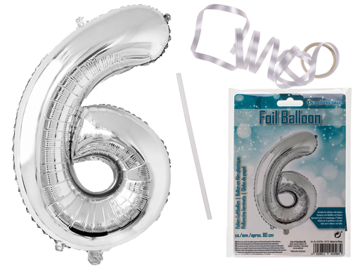 Number 6 Silver coloured foil balloon 80cm