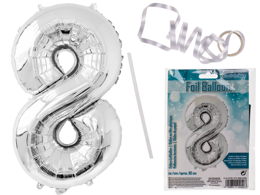 Number 8 Silver coloured foil balloon 80cm
