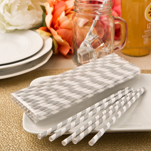 Perfect Plain Collection Matte Silver And White Stripe Design Paper Straws