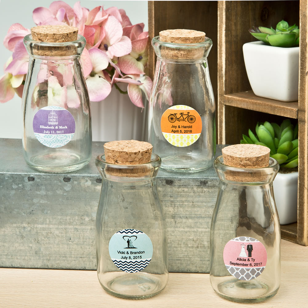 Personalised Expressions Collection Vintage Glass Milk Bottle With Round Cork Top