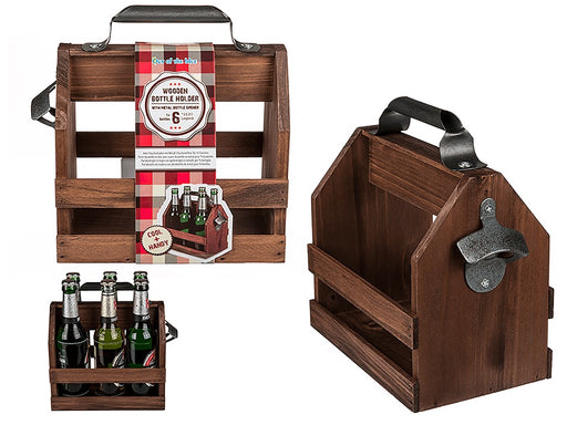 Wooden Bottle Holder with Metal Bottle Opener