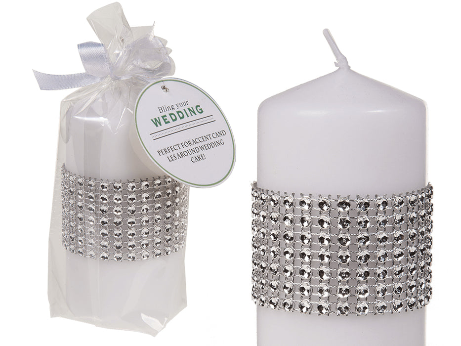 White Pillar Candle With Diamante Effect Decoration