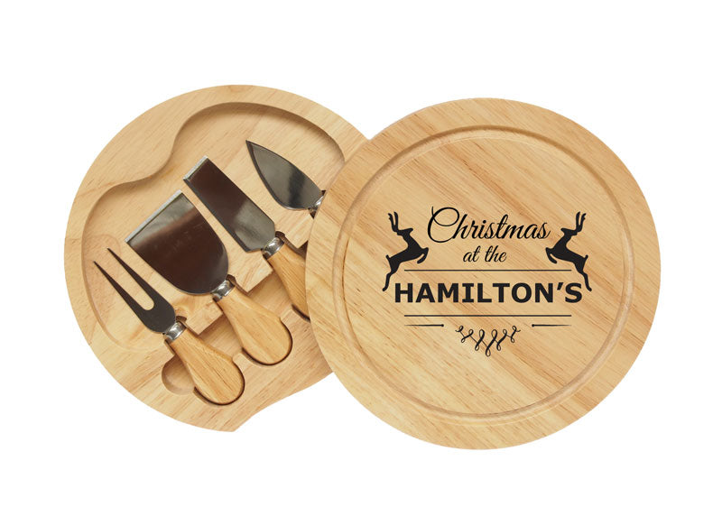Personalised Round Cheese Knife Board Set Christmas Reindeer